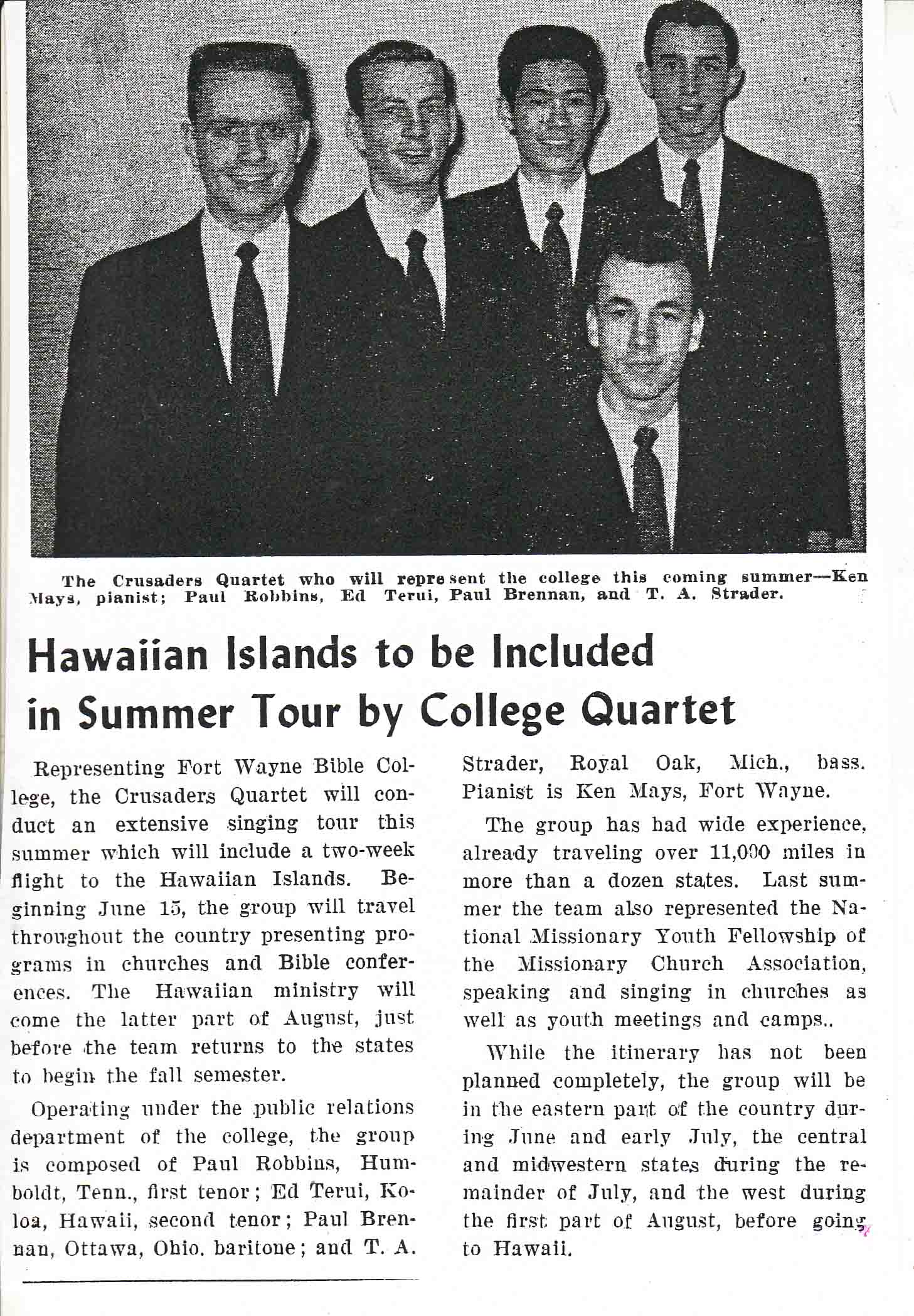 1958 Crusaders Quartet newspaper clipping about summer tour